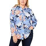 Charter Club Womens Plus Floral Print Long Sleeves Button-Down Top Blue 1X