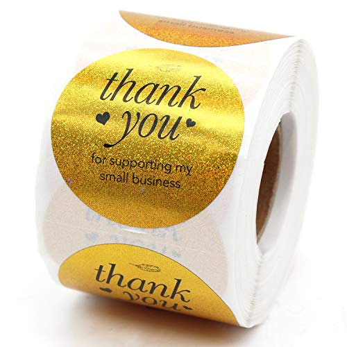 Muminglong Thank You for Supporting My Small Business Round Stickers, Thank You Sticker, Small Shop Sticker, Small Business, Packaging Sticker, Real Gold 500PCS, 1.5 inch, (Gold)