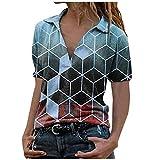 Fcostume - Blusa de manga corta para mujer, cuello en V, con topes, elegante, para negocios, informal, blusa 001#-verde XL