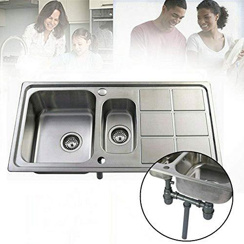 Fregadero de cocina 2 senos con y escurridor 101 x 51 x 23 cm Fregaderos de acero inoxidable cuadrado