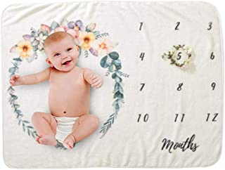 Baby Milestone Blanket, Womdee Newborn Photo Background Props with Monthly Growth Chart, Soft Swaddle Blanket for Boys or ...