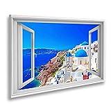 Bild auf Leinwand Fensterblick Stadt Oia auf der Insel