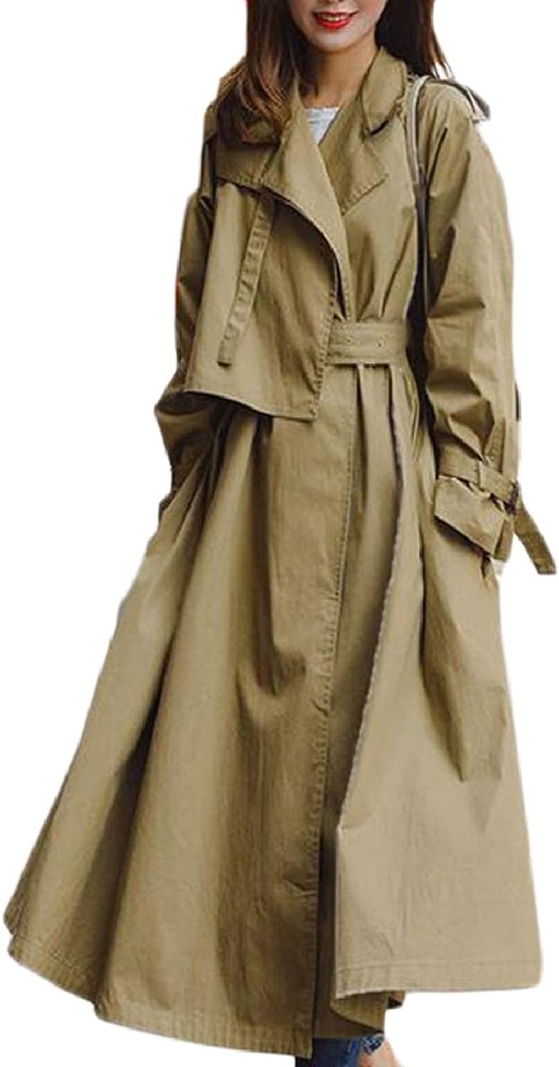 CBTLVSN Women Fashion Solid Duster Casual Long Sleeve Lightweight Trench Coat