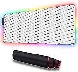 Alfombrilla de ratón RGB grande para juegos, líneas diagonales monocromas clásicas, alfombrilla LED de escritorio extendida ratón con base gruesa para jugadores, profesionales de 900x400x30 mm