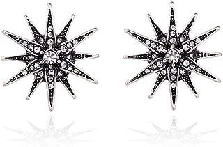 Vintage-Style Silver Crystal Starburst Post Earrings