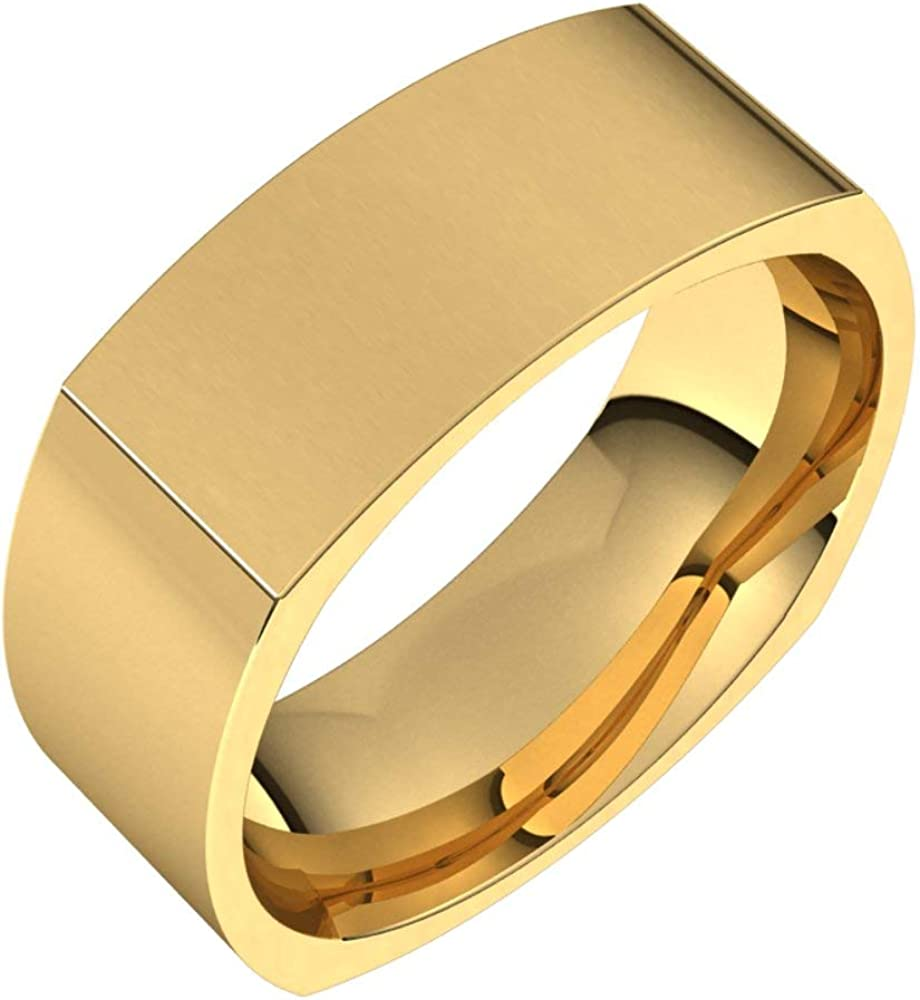 18k Yellow Gold OFFicial site 8mm Square Raleigh Mall Comfort Fit Bridal Band Ring Wedding
