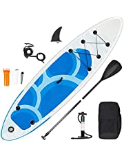 Inty Stand Up Paddle Board opblaasbaar, SU-paddle van PVC/EVA, met verstelbare peddel, pomp met dubbele actie, lijn, transporttas, reparatiebox, spoiler (RY-305)