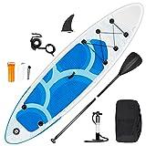 inty Aufblasbares Stand Up Paddle Board ISUP Surf Board 6 Zoll Dick Komplett-Set SUP Board, Hochdruck-Pumpe,Paddel, Rucksack, Reparaturset (Onda-Blu 305cm)