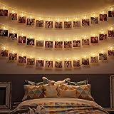 B.K.Licht I 5 Meter LED Fotolichterkette I 40 LED Fotoclips I Adventskalender I Foto-Clips I Transparent I Batterie betrieben I Weihnachten