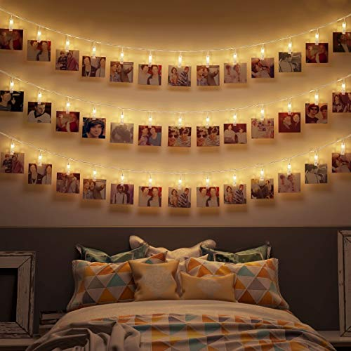 B.K.Licht I 5 Meter LED-Fotolichterkette mit Klammern I 40 LED Fotoclips I Warmweiß I Transparent I Batterie betrieben I Fotowand