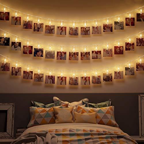 B.K.Licht I 5 Meter LED-Fotolichterkette mit Klammern I 40 LED Fotoclips I Warmweiß I Valentinstag I Batterie betrieben I Fotowand