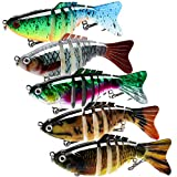 Fishing Lures for Bass Trout, Multi Jointed Swimbaits Slow Sinking Bionic Swimming Lures Set, Lifelike Freshwater Saltwater Hard Bait, Fishing Accessories Kit Stuff Supplies, Pack of 5