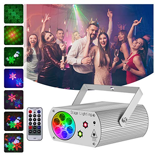 Hemucun Party Lights Sound Activated Disco Light with Remote Control, RGB LED 2 in 1 Laser Projector Strobe DJ Lights for Stage Parties Birthday Show Xmas KTV Bar Club Pub (Silver)