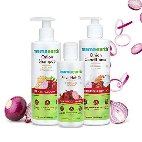 Mamaearth Anti Hair Fall Spa Range with Onion Hair Oil + Onion Shampoo + Onion Conditioner for Hair Fall Control