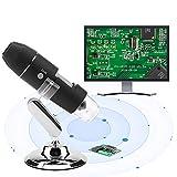 Microscopio digital inalámbrico USB, microscopio electrónico portátil 1600X 2MP HD USB Lupa Lupa con soporte de metal y soporte para inspección de joyería de calidad numismática