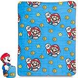 Franco Kids Bedding Soft Plush Throw and Hugger Pillow Set, 40' x 50', Super Mario