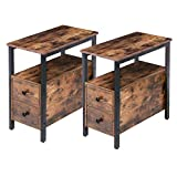 HOOBRO End Table, Set of 2, Recliner Side Table with 2 Drawer and Open Shelf, Narrow Nightstand for Small Space, in Living Room, Bedroom, Wood Look Accent Table, Rustic Brown and Black BF54BZP201
