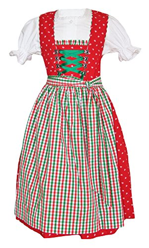 Isar-Trachten Kinder Dirndl Annika Rot Grün Gr. 92-3-TLG. Kleid mit Bluse und Schürze