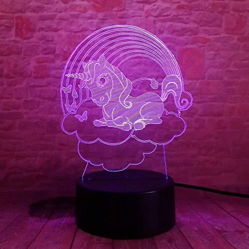 Lumières de nuit 3D Illusion 3D Cartoon Cloud Little Little Little Pony Led 7 Couleur Couleur 3D Illusion Chambre Chambre Ami Ami Cadeaux D'anniversaire
