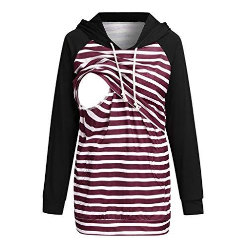 Solike Femme Enceinte d'allaitement Tunique Cordon De Serrage Blouses Et Chemises Grossesse Capuchon Hooded Pulls Poche T-Shirts Et Tops en Couches
