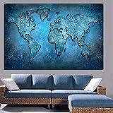 Said - Mapa del mundo abstracto sobre lienzo moderno HD lienzo impresión oficina sala de conferencias arte pared decoración 50 x 75 cm sin marco