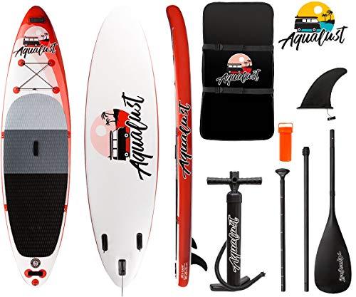 "AQUALUST 10\'6\"" SUP Board Stand Up Paddle Surf-Board aufblasbar Paddel ISUP 320x81cm red"