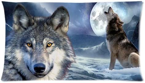 King Size Pillowcase Wild Wolf On Iceberg Howling Moon Custom Diy Pillowslips Roomy In Size 20 36 Inch Home Kitchen Amazon Com