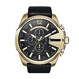 Montre Diesel or noire bracelet cuir noir DZ4344
