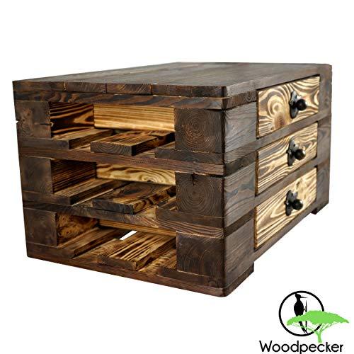Woodpecker Commode salontafel Lowboard tuintafel van hout met schuifladen in donkerbruin-gevlamd-wit-natuur 67x47x37 cm Landhuis universeel gebruik handwerk 67x47x37 cm bruin