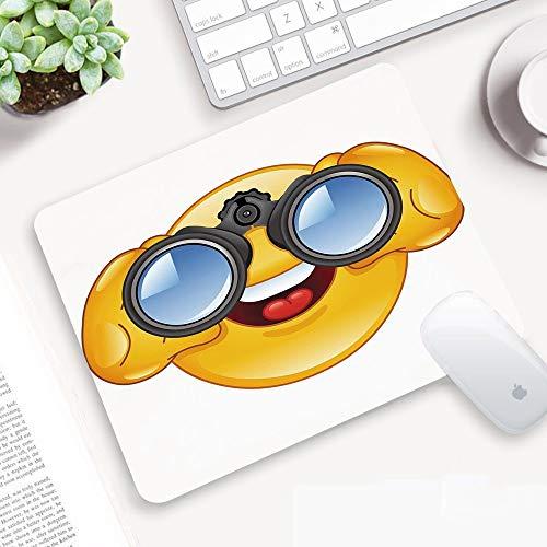Gaming Mauspad,Emoji, Smiley-Gesicht mit einer Teleskop-Fernglas-Brille, die drauß,Abwischbar Matte Multifunktionales Office rutschfeste Gaming Matte für Computer, PC und Professionelle Gamer320x250mm