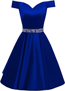 Changuan Women's Short Beaded Prom Dresses Off The Shoulder Backless Homecoming Dress