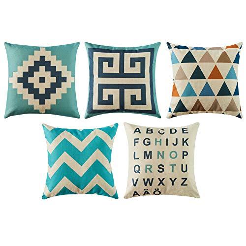 Top Finel クッションカバー Cushion Covers おしゃれ 北欧 ソファ背当て 部屋飾り インテリア リネン 45×45CM 5枚セット