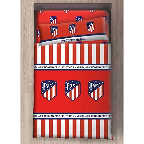 Atletico de Madrid Juego Sabanas 3 Piezas (Bajera, Funda de Almohada, Encimera) (90 cm)