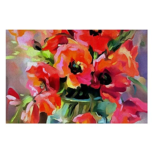 Poppies In A Glass Vase Jigsaw Puzzle 300 Piece, Puzzle Game Artwork for Adults Teens Kids Children 10' x 15'
