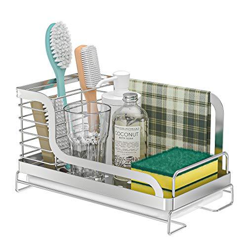 ODesign Sink Organizer Kitchen Sink Caddy Sponge Brush Holder with Drain Pan Tray Dishcloth Rack Countertop Stainless Steel Rustproof