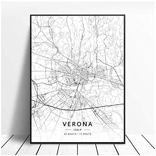 NRRTBWDHL Bologna Foggia Naples Padua Turin Verona Italy Map Canvas Art Poster Living Room Decoration Print on canvas-50x70cm No Frame