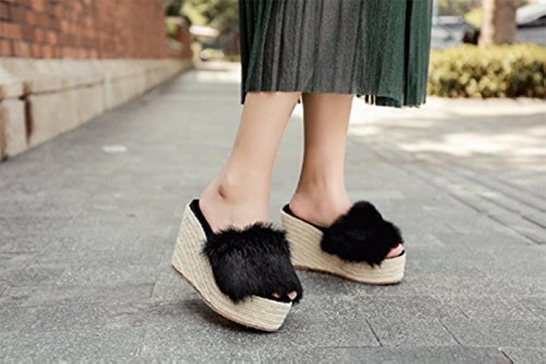 HhGold Flip-Flops für Damen Slope Comfortable Dicker Boden wasserdicht (Farbe   schwarz 10cm, Gre   7 US 37.5 EU 4.5 UK)