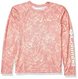 Columbia Youth Solar Chill bedrucktes langärmeliges Shirt, feuchtigkeitsableitend, Kinder und Babys, Solar Chill Printed Long Sleeve, Bright Poppy, Small