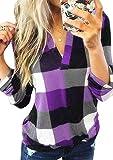 TYQQU Blusa de manga larga a cuadros para mujer, estilo informal, tallas XXS-3XL