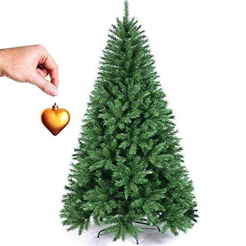 BAKAJI - Árbol de Navidad de Pino con corazón de Oro de 180 cm, ecológico e ignífugo, con Base en Cruz de Hierro Plegable, Muy frondoso, 600 Ramas, con Ganchillo, Color Verde (180 cm)