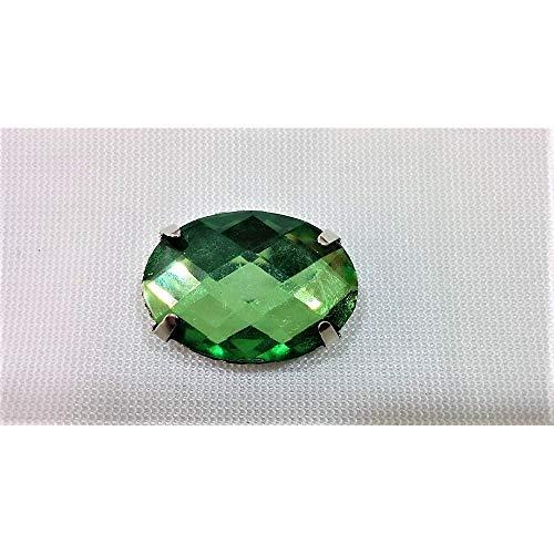 Piedras en resina de coser de sello de aluminio facetado oval de color sólido de 22x17 mm - Verde Bandiera