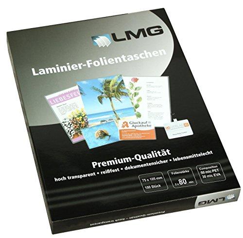 LMG LMG75X105X80 Laminierfolien 75 x 105 mm, 2 x 80 mic, 100 Stück