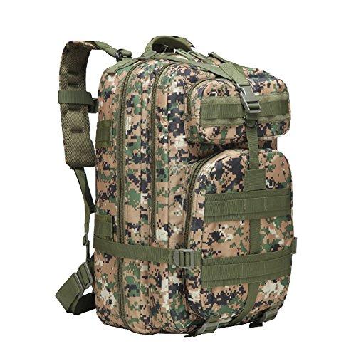 45L Sacs de Randonnée Sac de Voyage Tactique Militaire Sac à Bandoulière 3P Bagages Sacs à Dos Jungle Numérique