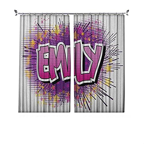 Cortinas plisadas con aislamiento térmico Emily, nombre muy popular en inglés con elementos de dibujos animados pop, para travesaños y rieles, 84 x 72 pulgadas, color morado fucsia y amarillo pálido