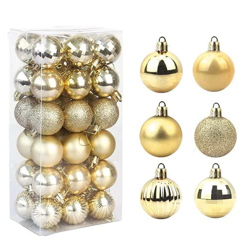 Feliciay - Set di 36 palline di Natale assortite, infrangibili, decorazioni per albero di Natale, decorazioni da appendere, decorazioni stagionali, feste di nozze, feste decorative (oro, 4 cm)