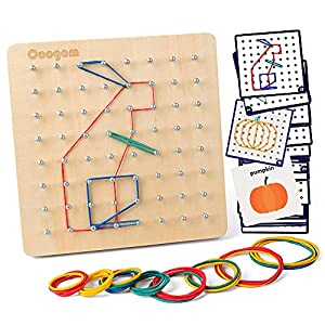 Coogam Wooden Geoboard Mathematical Manipulative Material Array Block Geo Board – Graphical Educational Toys with 30Pcs Pattern Cards and Latex Bands Shape STEM Puzzle Matrix 8x8 Brain Teaser for Kid from Coogam