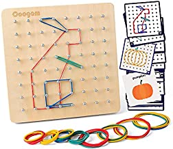 Coogam Wooden Geoboard Mathematical Manipulative Material Array Block Geo Board – Graphical Educational Toys with 30Pcs Pattern Cards and Latex Bands Shape STEM Puzzle Matrix 8x8 Brain Teaser for Kid