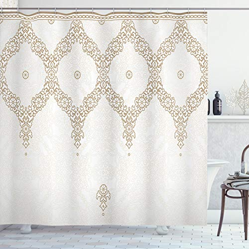 Ambesonne Moroccan Shower Curtain, Ornate Background with Traditional Soft Color Eastern Elements and Pattern, Fabric Bathroom Decor Set with Hooks, 70 inches, Umber Camel White
