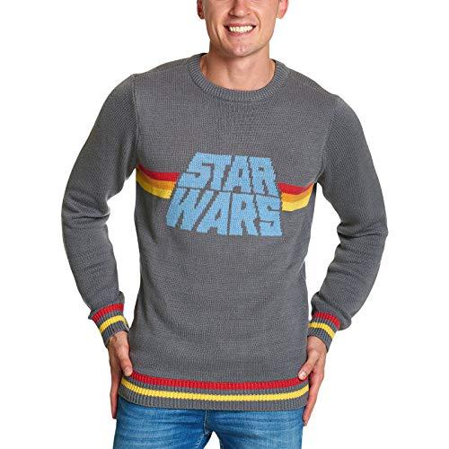 STAR WARS Jersey de Punto Logotipo Retro Gris Hombres de Elbenwald - M