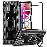 IMBZBK Cover for Motorola Moto G Stylus 2021 Case (Not for Moto G Stylus 2020) + 2pcs Tempered Glass Screen Protector, Military Grade Drop Protection [360 Degree Rotation Finger Ring Kickstand]-Black